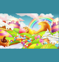 Sweet landscape candy land candies and milk river vector