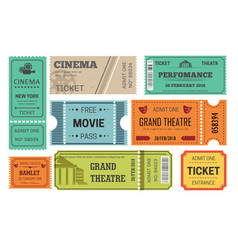 Ticket cinema and theatre admission or paper pass vector