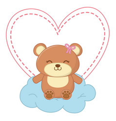 toy bear sitting on a cloud vector image