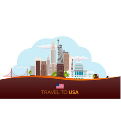 Travel to usa new york poster skyline statue of vector