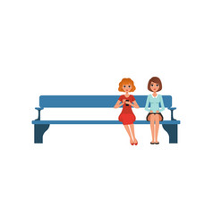 Two young women sitting on bench in reception vector