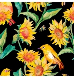 Watercolor patternWhite-eye bird and sunflower vector