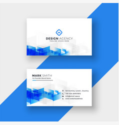 White business card with abstract blue shapes vector