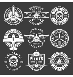 White Color Airplane Emblem Set vector image