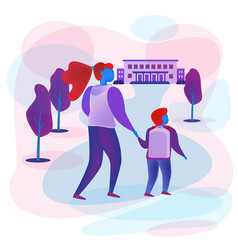 woman leads child to school flat style vector image