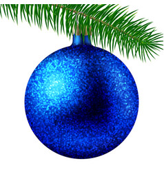 blue christmas ball or bauble and fir branch vector image vector image