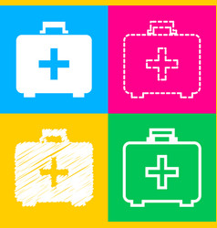 medical first aid box sign four styles of icon on vector image