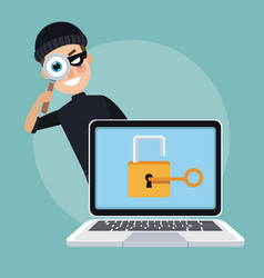 scene color laptop with padlock key and thief man vector image vector image