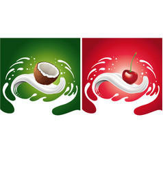 splash with coconut cherry lying on milk tongue vector image vector image