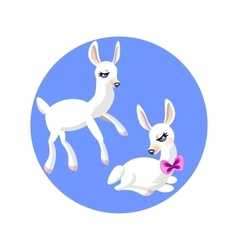 Two cartoon white gentle lamb vector image