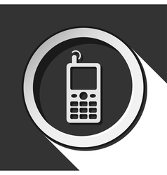 black and white round - old mobile phone icon vector image vector image