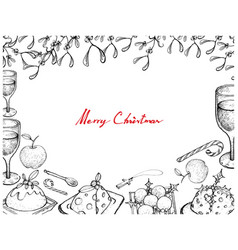 christmas dinner with pudding wine and dessert fr vector image