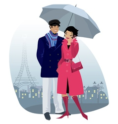 Couple at city vector image vector image