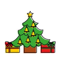 merry christmas happy tree star bells gift vector image vector image