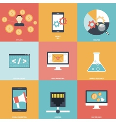 Seo Icons Flat vector image vector image