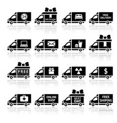 Set of Cargo trucks black icons vector image