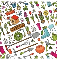 Spring garden doodle seamless patternColored vector image