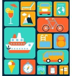 Travel flat icons set vector image