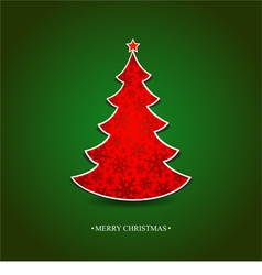 Christmas card with a red tree vector image vector image