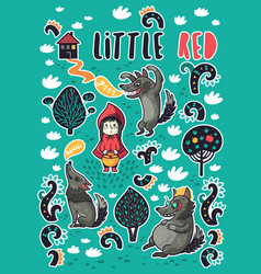 Collection of stickers with little girl and vector