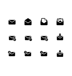 Email icons on white background vector image vector image