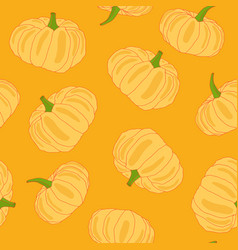 hand drawn orange pumpkin seamless pattern vector image vector image