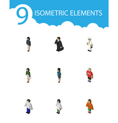 Isometric person set of policewoman girl vector