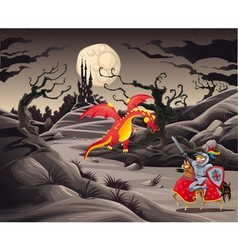 Knight and dragon in a landscape with castle vector image vector image