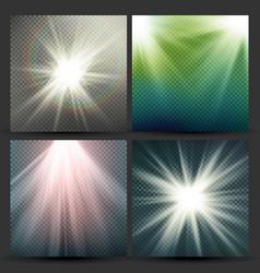 light beam rays set sun flash with rays vector image vector image