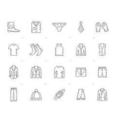 line man clothing icons vector image vector image