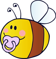 pudgy baby bee with a pacifier vector image