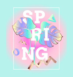 spring poster in the style and colors of vaporwave vector image