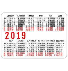 2019 horizontal pocket calendar grid template vector image