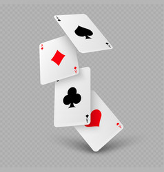 Falling poker playing cards of aces vector