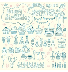 Hand drawn Birthday elements Birthday party vector image vector image