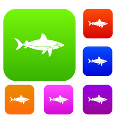 shark fish set color collection vector image vector image