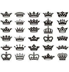 Silhouettes crowns set bw vector image