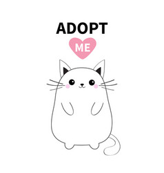 Adopt me dont buy white contour cat silhouette vector