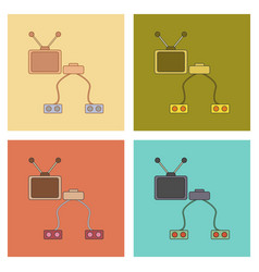 assembly flat icons kids toy tv game console vector image