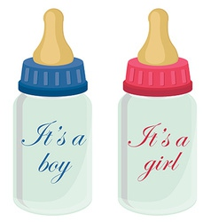Baby bottles with text vector image