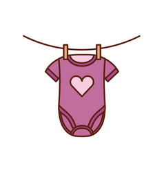 Baby shower clothes hanging line celebration vector