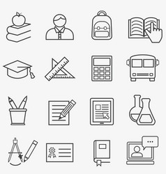 back to school and education line icons vector image