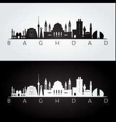 Baghdad skyline and landmarks silhouette vector