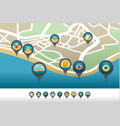 Beach entertainment pin map icon located on map vector