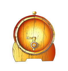 beer drawn wooden oak barrel front view color vector image