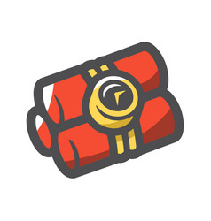 bomb with clock timer cartoon vector image