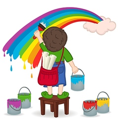 Boy painting rainbow vector