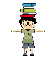 Boy playing with books vector image