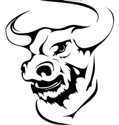 Bull head in black interpretation vector