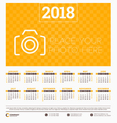 calendar for 2018 year design template week vector image